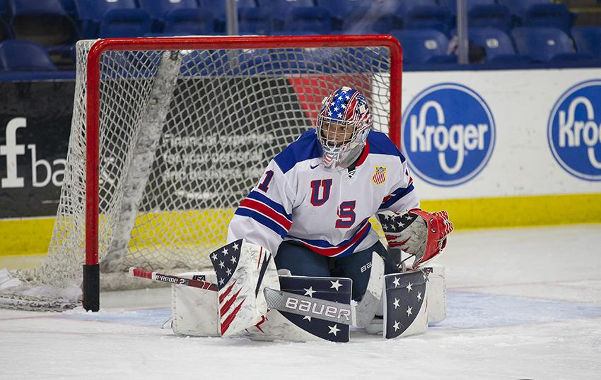 Kaidan Mbereko was at Air Force Academy on Dec. 12-13, 2020. He played in an exhibition matchup for the NTDP's U18 team against the Cadets and won.