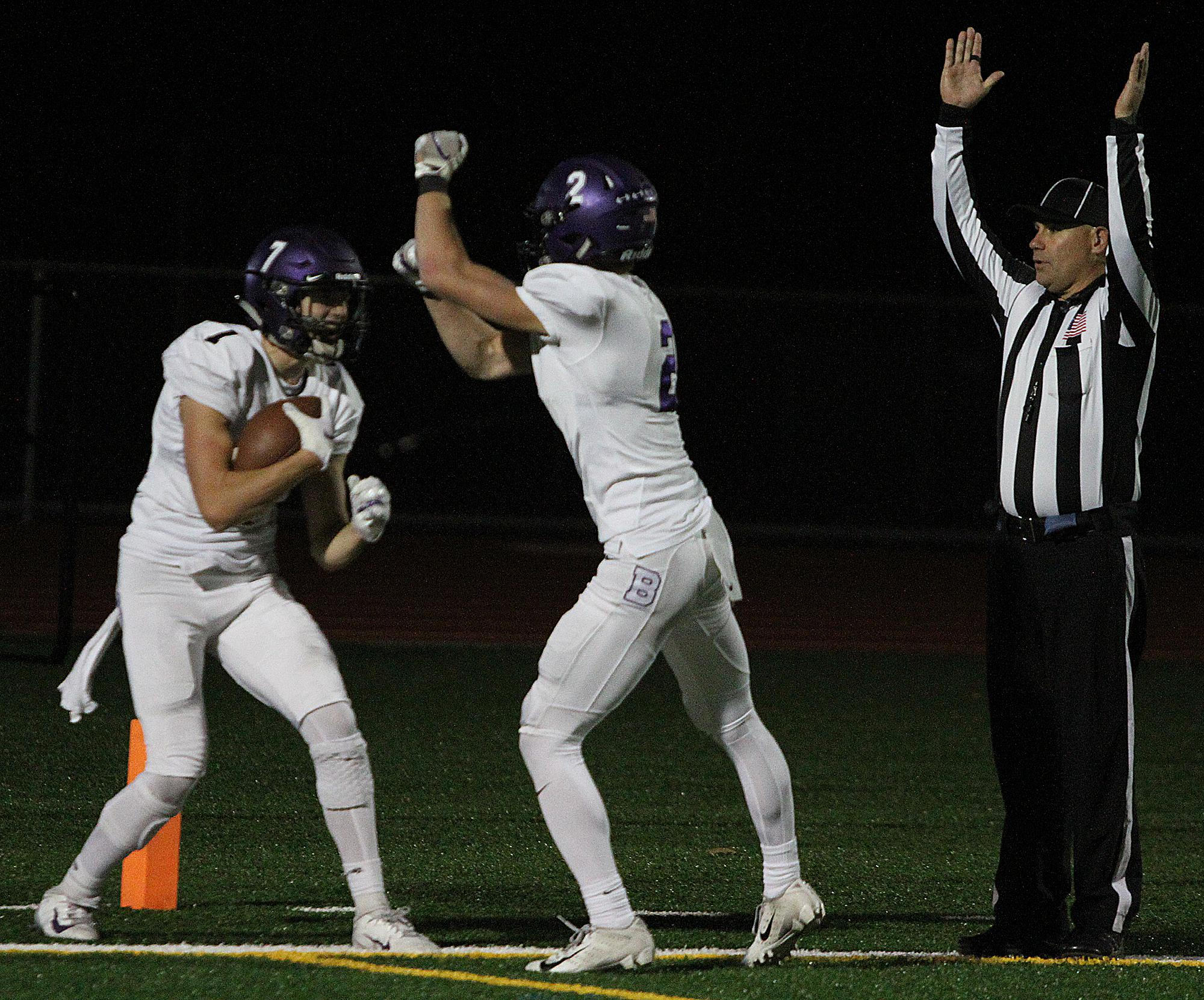 Buffalo celebrates its first touchdown Friday night en route to a 17-14 win over St. Michael-Albertville. Photo by Drew Herron, SportsEngine