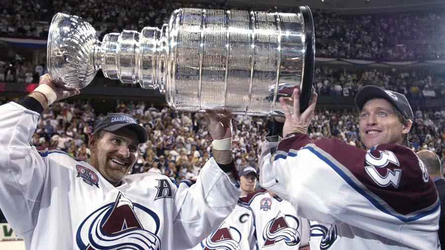 Colorado Avalanche players celebrating one of the franchise's two Stanley Cup victories to date. Photo courtesy of the NHL