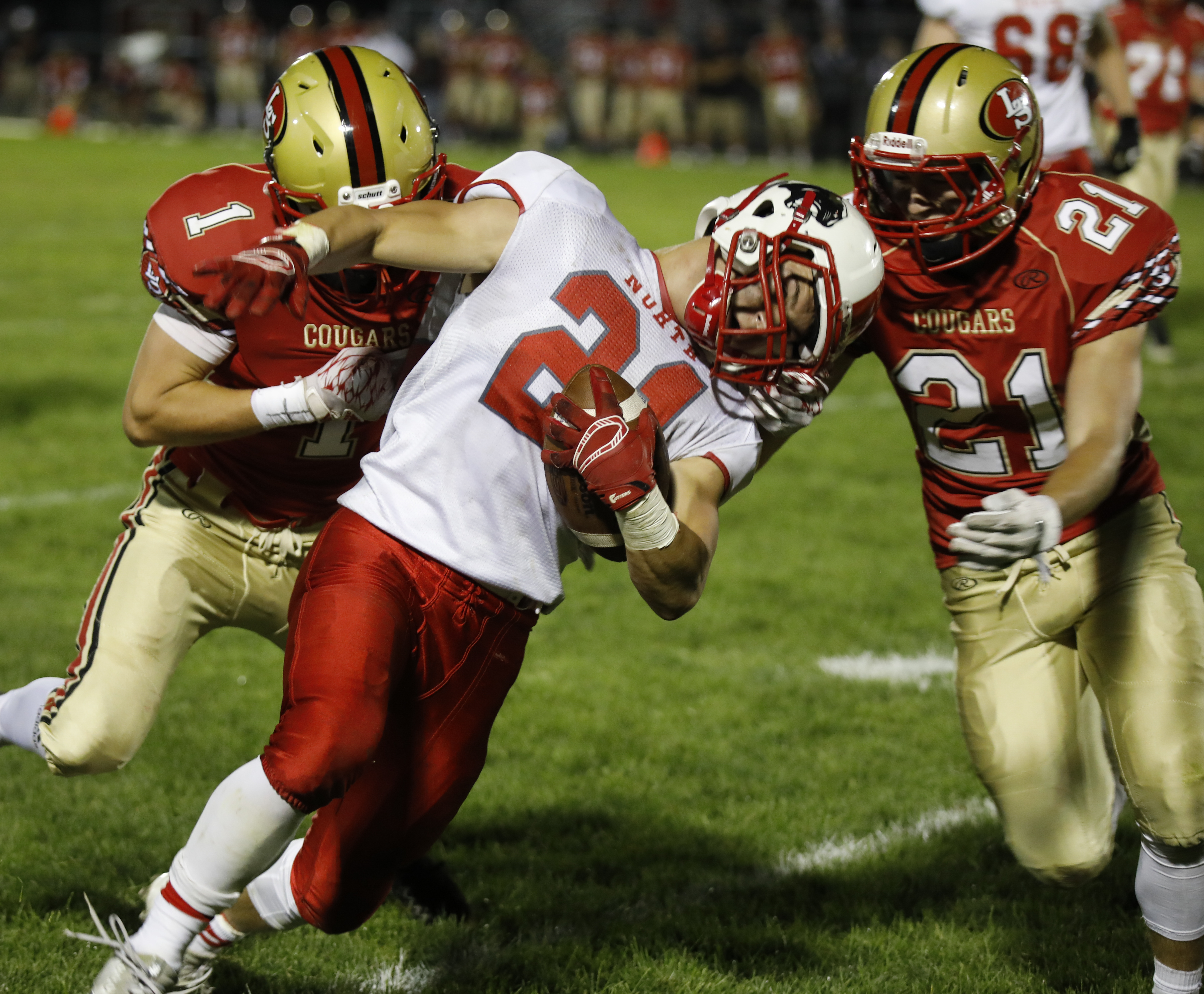 Wade Sullivan (21), the runningback for Lakeville North gets tackled out of bounds at their 30 yard line. Wade ran for 126 yards and four touchdowns to lead the Panthers to a 35-0 win against the crosstown rival Cougars. Photo by Chris Juhn