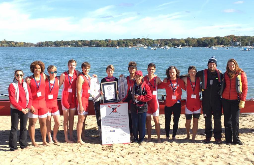 GUINNESS WORLD RECORD achieved! Longest duration waterski tow by rowing boat - Hingham High Crew 4:08.22