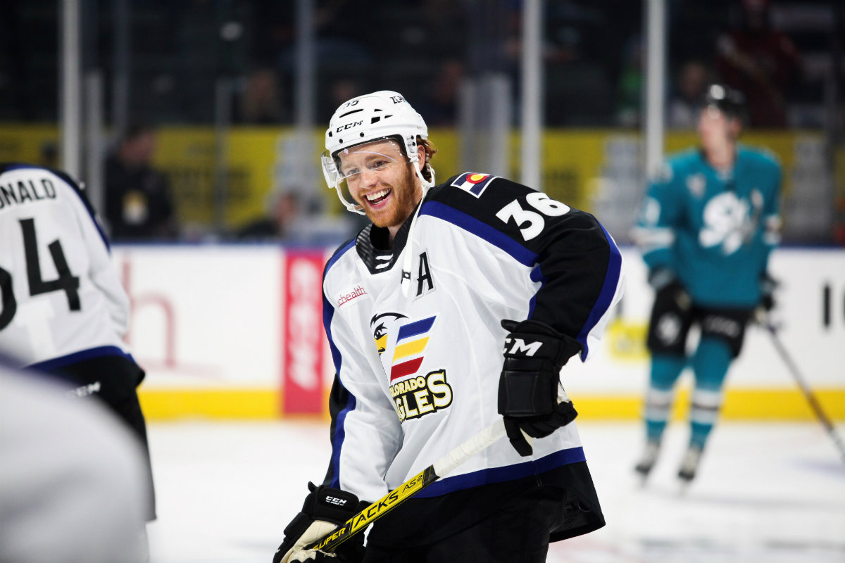 T.J. Tynan (pictured) had a team-best 47 points for the Eagles during the 2019-20 season and is one of several key returners joining this year's Eagles squad. The center inked a new deal to stay with Colorado for another season in March 2020.