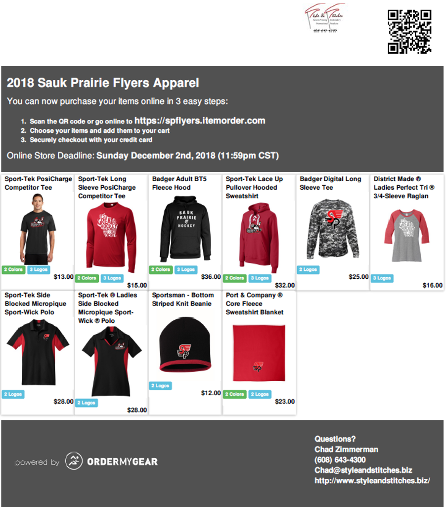 2018-2019 Sauk Prairie Flyers Apparel