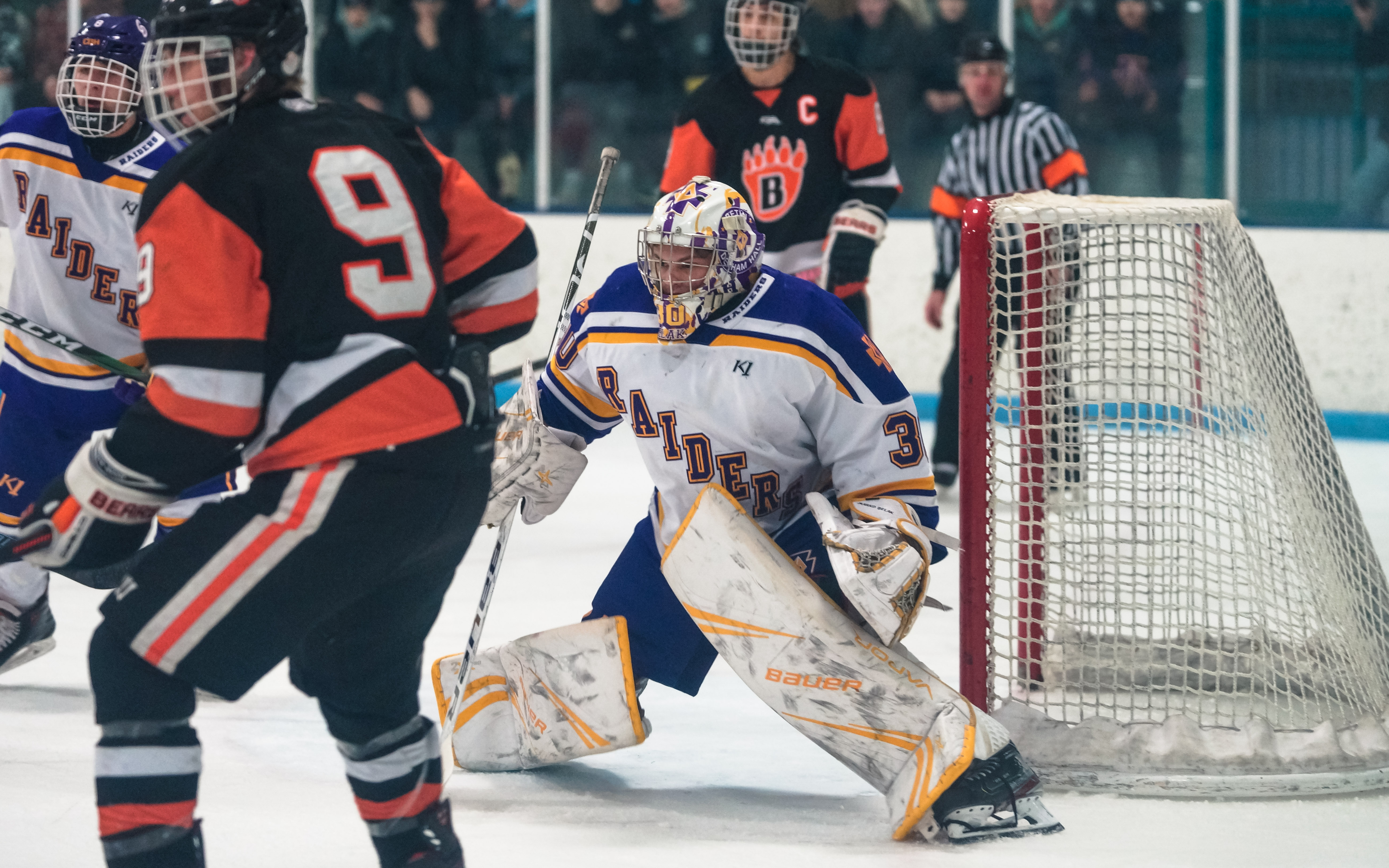 Raiders goalie Marko Belak faced a buzzing first-period attack from White Bear Lake and settled in, allowing just one goal in his team's Suburban East Conference victory. Photo by Korey McDermott, SportsEngine