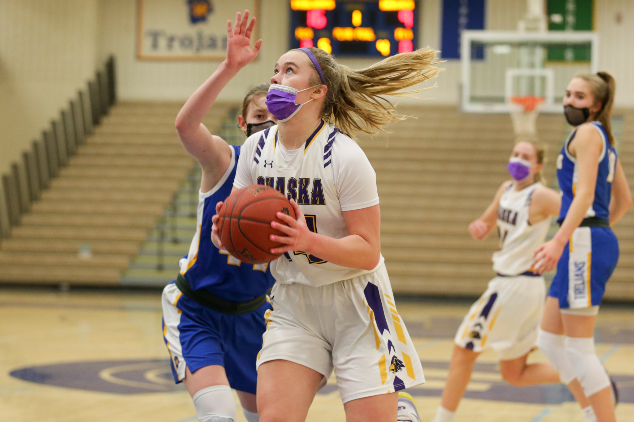 Chaska's Mallory Heyer spins for a layup against Wayzata Friday night. Heyer  had a team-high 18 points in the Hawks' 61-59 victory over the Trojans in Wayzata. Photo by Jeff Lawler, SportsEngine