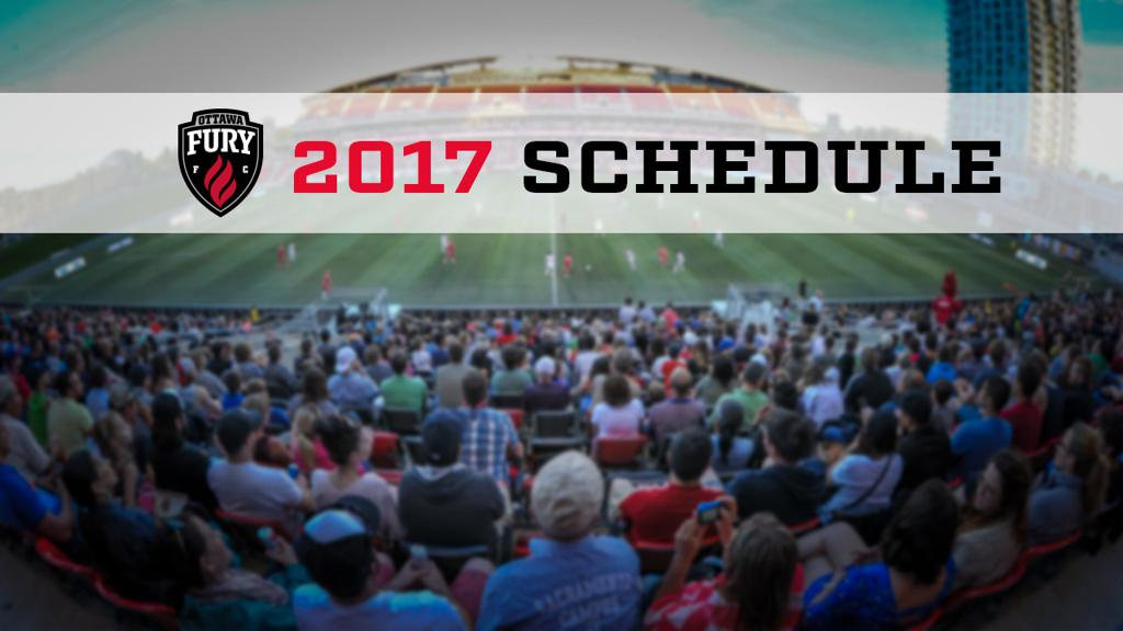 TD Place stadium in the background with Ottawa Fury FC 2017 Schedule in text.