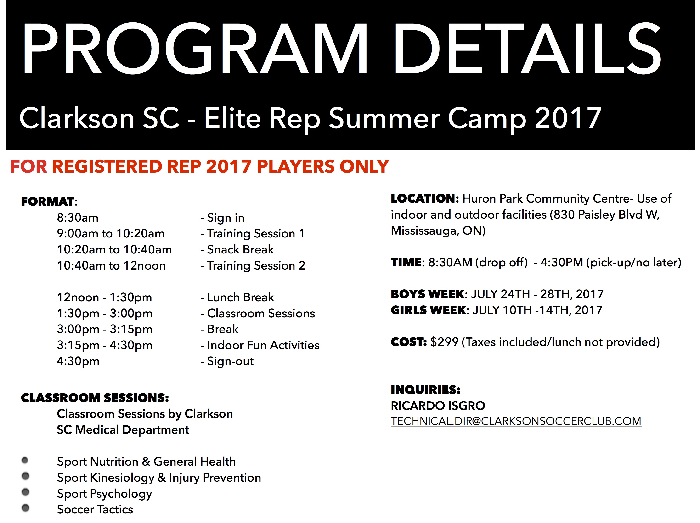 CSC GIRLS AND  BOYS ELITE SUMMER CAMP 2017 SCHEDULE