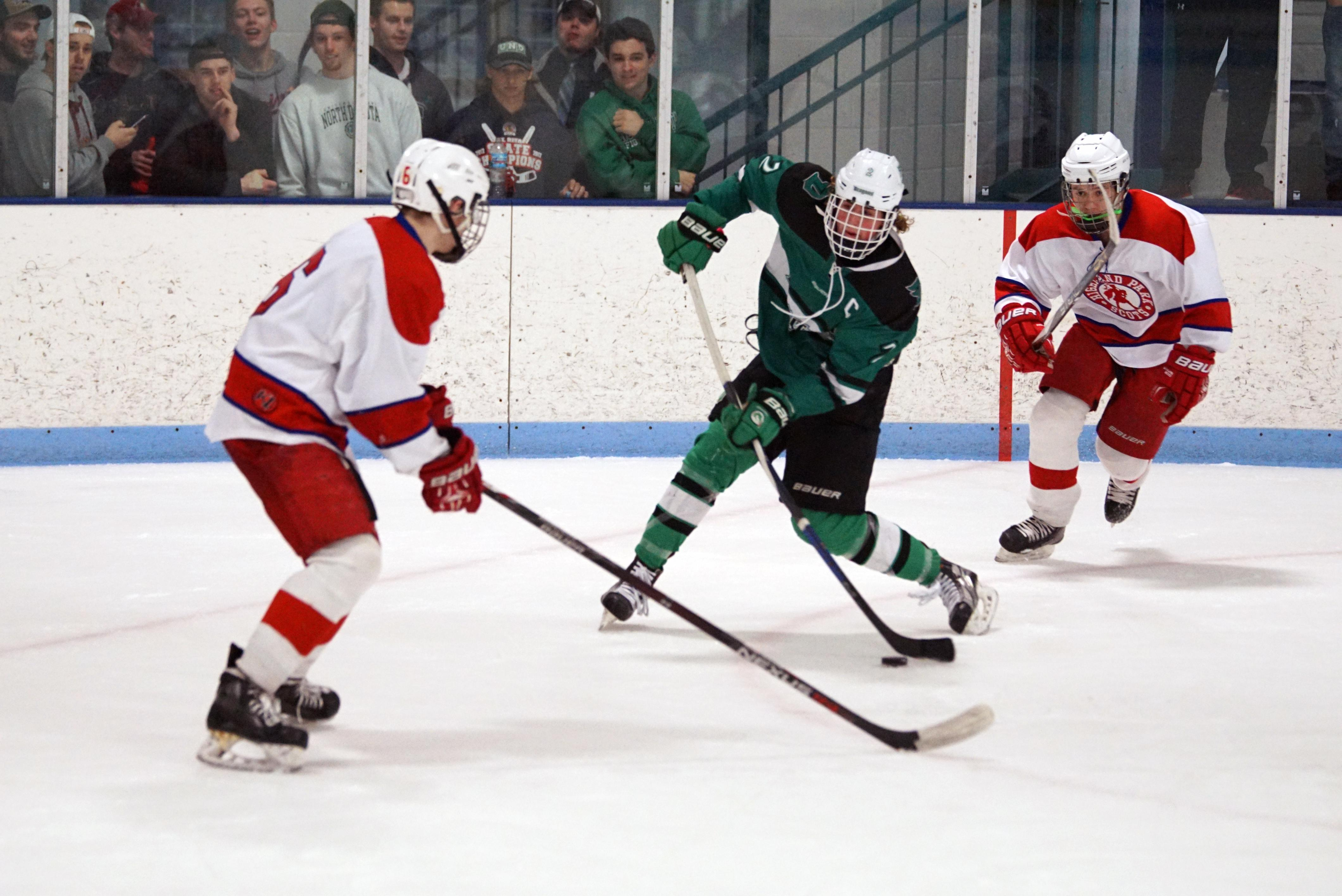 Brendan Westbrook rips a slapshot in the third period. Photo by Trevor Squire, SportsEngine