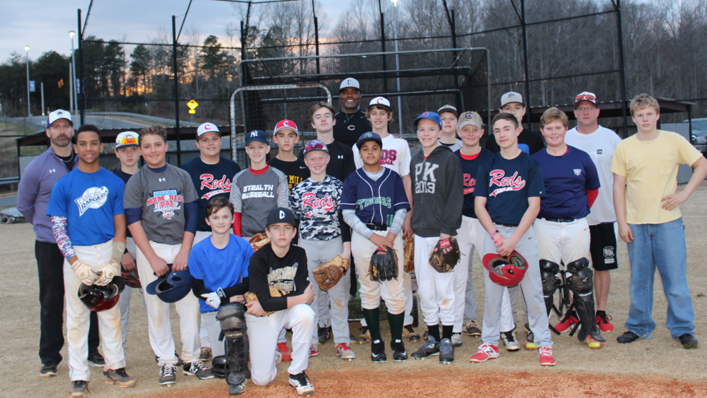 World Series Champion, 3 Time Lou Brook Award Winner - Tony Womack working with the BTMS Baseball Team!