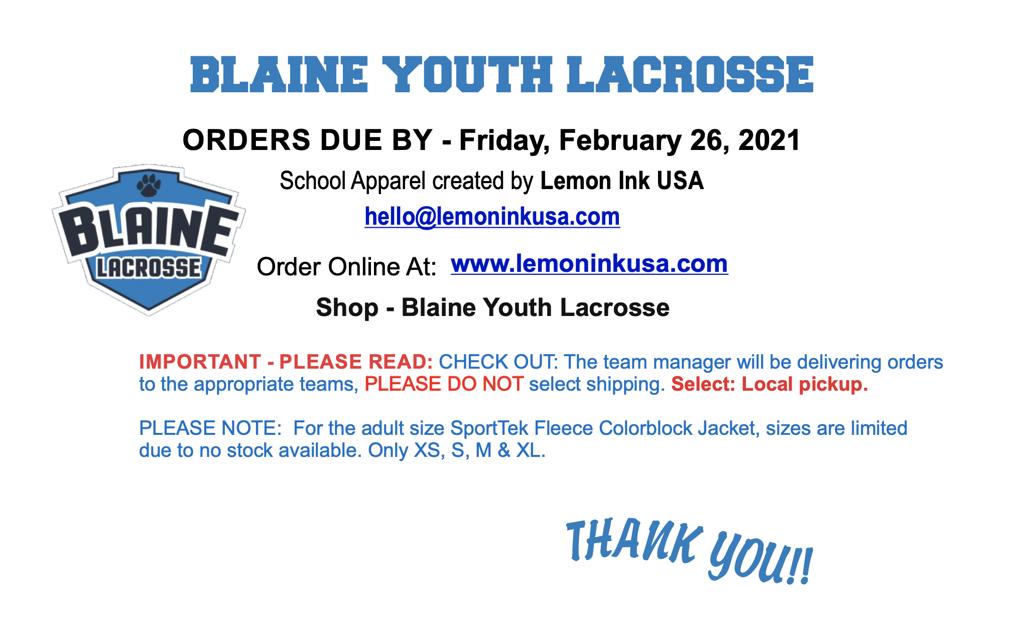 Blaine Lacrosse Apparel