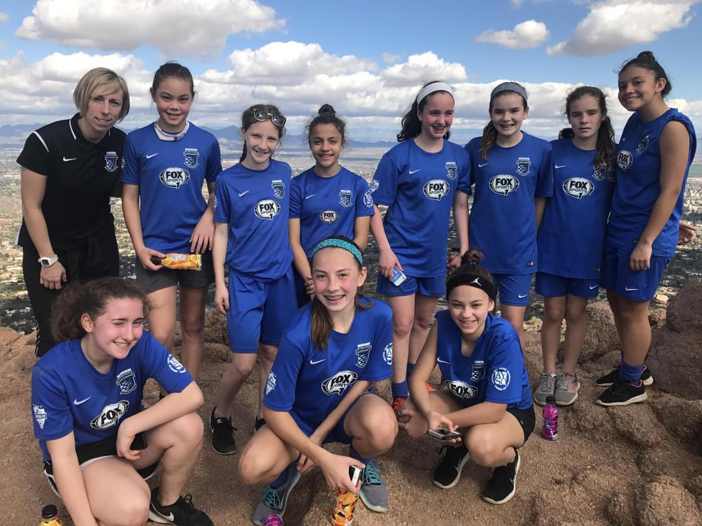 U13 Girls on top of Camelback Mountain