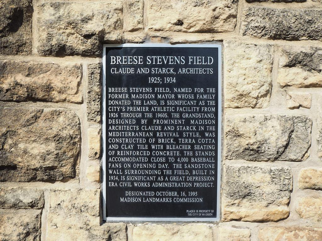 Breese Stevens Field Plaque