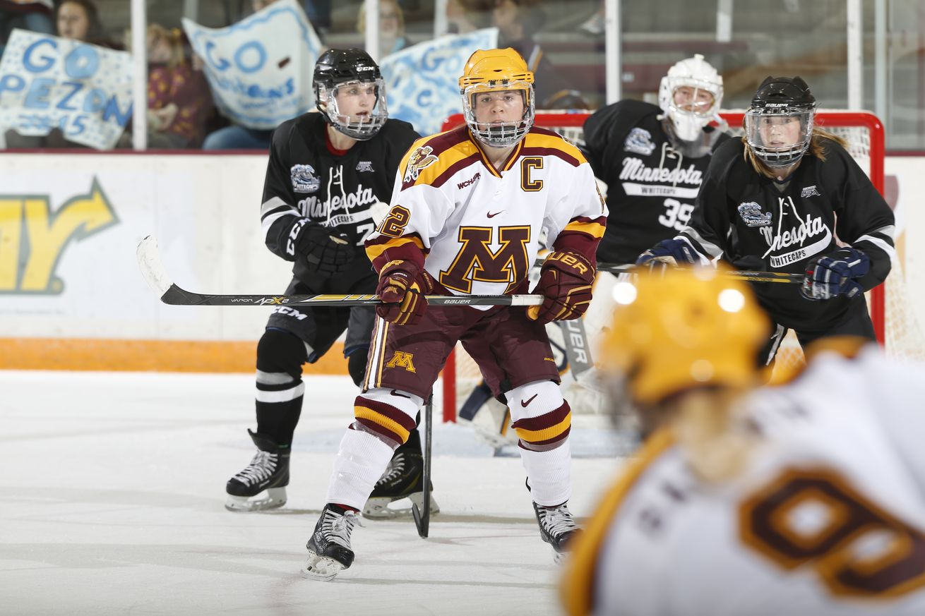 """Vadnais Heights native Hannah Brandt (center, wearing the """"C"""") was one of five Minnesotans named to the U.S. Women's World Championship roster. Credit: Courtesy Eric Miller, Gopher Athletics."""