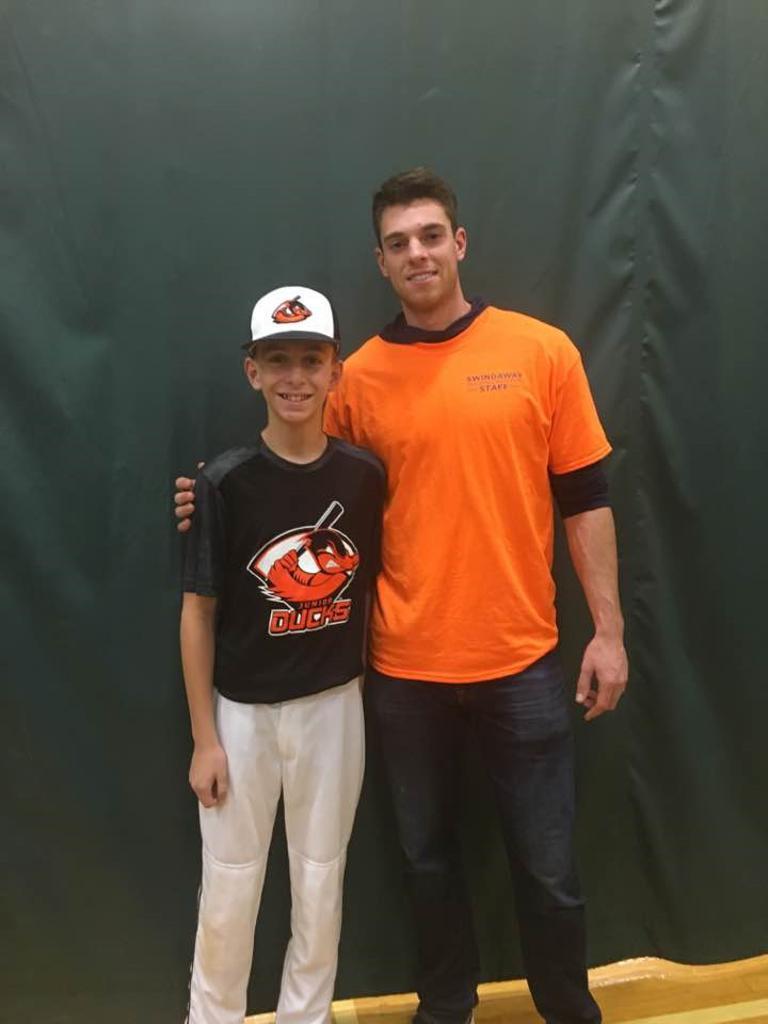 14u Jr Ducks Chris Balatto & NY Mets Ace, Steven Matz at a recent clinic at Ward Melville.