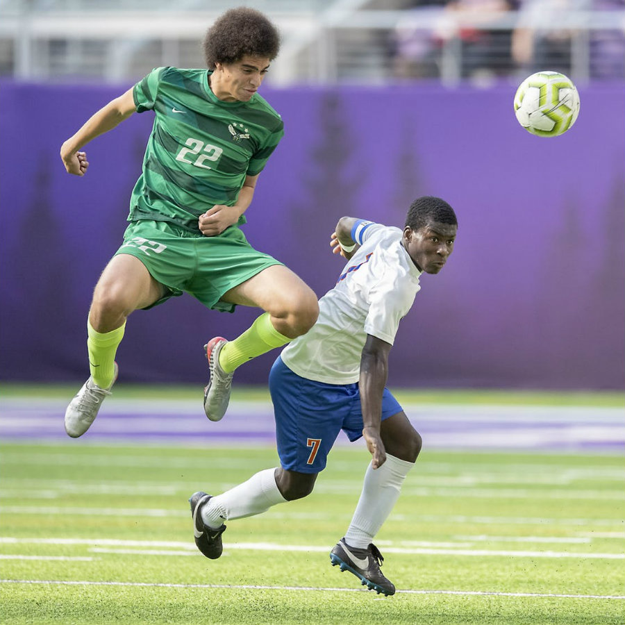 Darley Florvil (right) was chosen the 2019 Mr. Soccer award recipient for Class 2A. A senior forward for Minneapolis Washburn, Florvil had 24 goals and 10 assists this season. Photo by Elizabeth Flores, Star Tribune