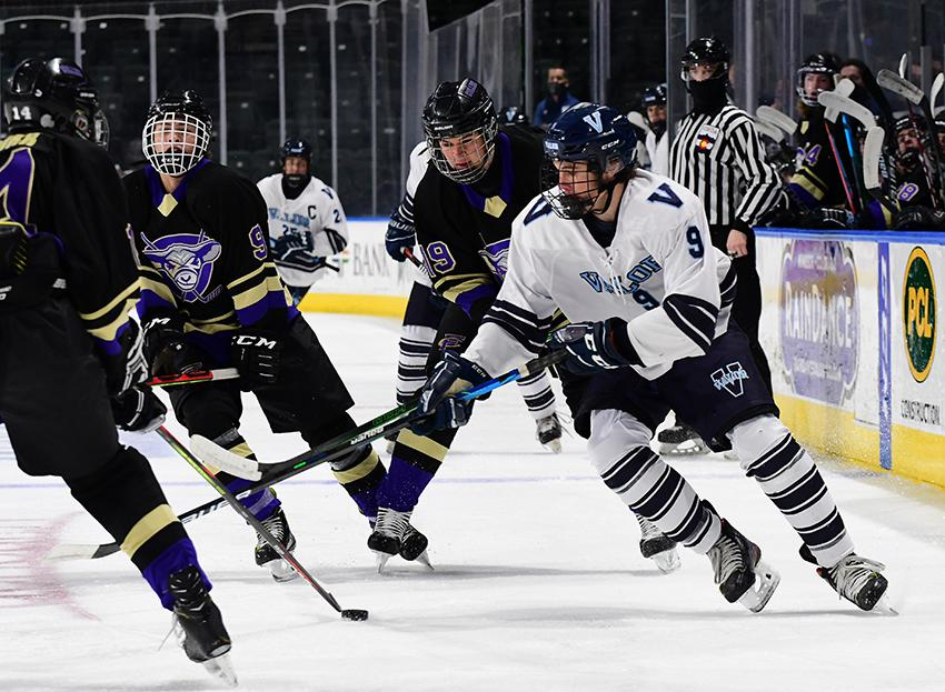 Class 5A Player of the Year Evan Pahos (right) of Valor Christian was selected to the All-Colorado and all-state first team this year. Pahos recorded 13 goals and 10 assists this pandemic-shortened season. Photo by Steven Robinson, SportsEngine