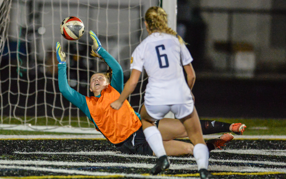 Hill-Murray goalkeeper Natalie Humbert denies Mahtomedi's Lily Lindquist in front of the net in a 1-0 shoutout Thursday night at Hill-Murray. Photo by Earl J. Ebensteiner, SportsEngine