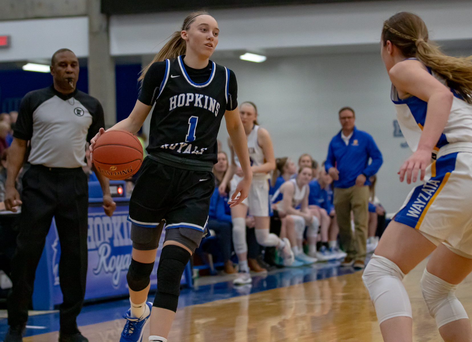 Hopkins Senior guard Paige Bueckers (1) scored 27 points against visiting Wayzata Tuesday night. The Royals defeated the Trojans 87-77 at Hopkins High School. Photo by Gary Mukai, SportsEngine