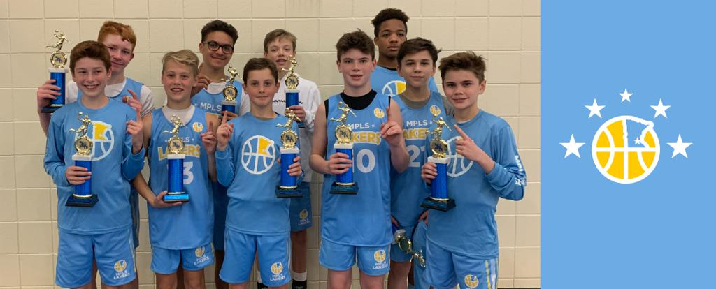 Minneapolis Lakers Boys 7th Grade Gold pose with their Trophies after becoming the Champions at the Hastings Spiral Classic tournament in Hastings, MN