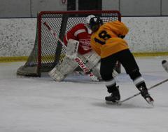 Carolyn Fairchild breaks in on goal in Sunday's game