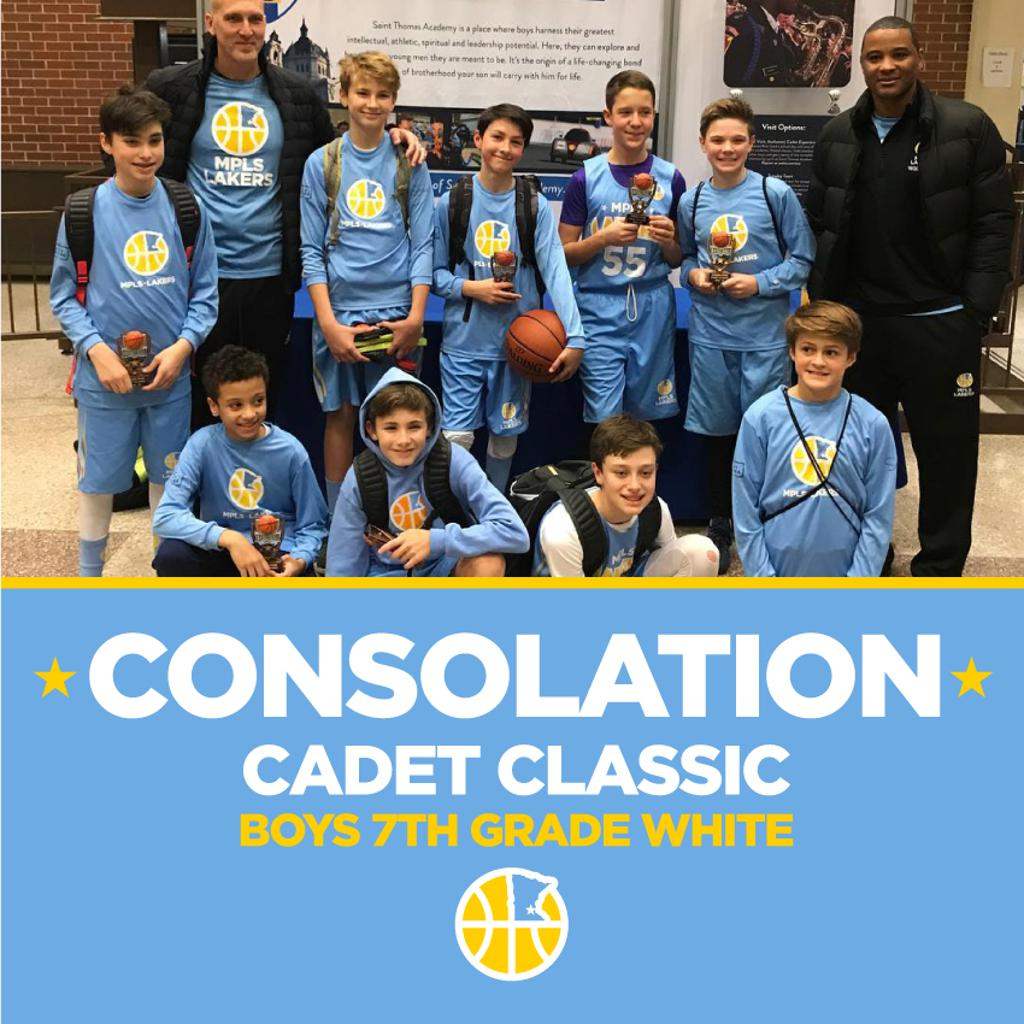 Boys 7th Grade White pose with their hardware after taking Consolation at Cadet Classic