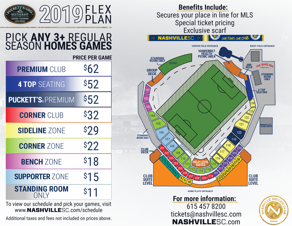 Nashville SC 2019 season USL flex plan with First Tennessee Park seating map