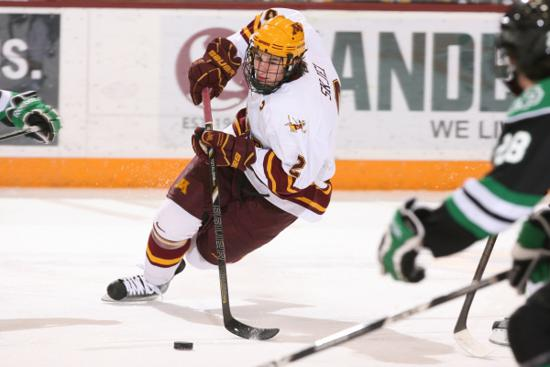 The New York Rangers' Brady Skjei, from Lakeville, played in 109 games for the University of Minnesota. Credit: Gopher Athletics.