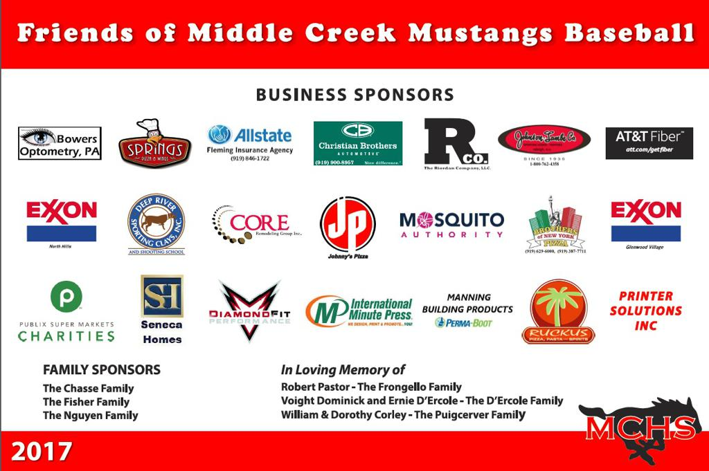 2017 Friends of Middle Creek Baseball Sponsors