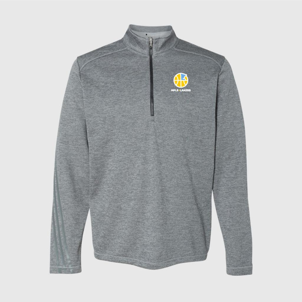 Men's Grey 1/4 Zip with embroidered logo on left chest