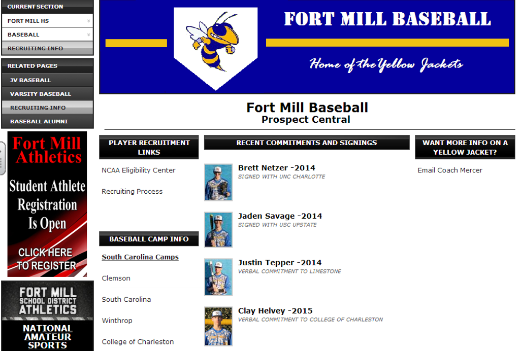 Players and College Coaches... Check out our Prospect Page!