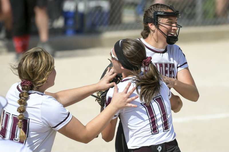 Northfield pitcher Brynn Hostettler (smiling on right) celebrates winning this year's Class 3A championship with teammates on June 7. Hostettler made the Class 3A all-state first team. Photo by Aaron Lavinsky, Star Tribune