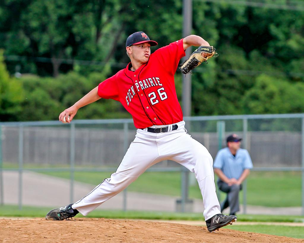 Eden Prairie senior pitcher Jack Zigan is one of four Eagles named to the Class 4A all-tournament team, showcasing a squad that peaked at the right time to claim the Class 4A title. Photo by Mark Hvidsten, SportsEngine