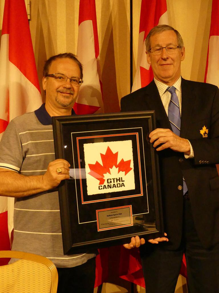 Duffield presented 60th Anniversary Plaque by GTHL President Don West