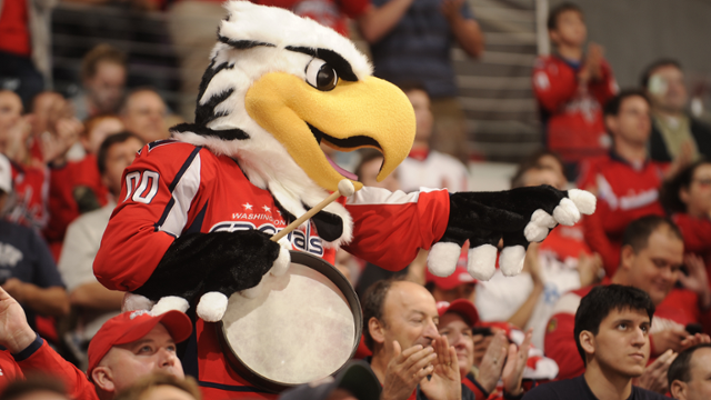 Slapshot, the mascot of the Washington Capitals, entertains fans in Washington, D.C. at Capital One Arena. Photo courtesy of the Washington Capitals