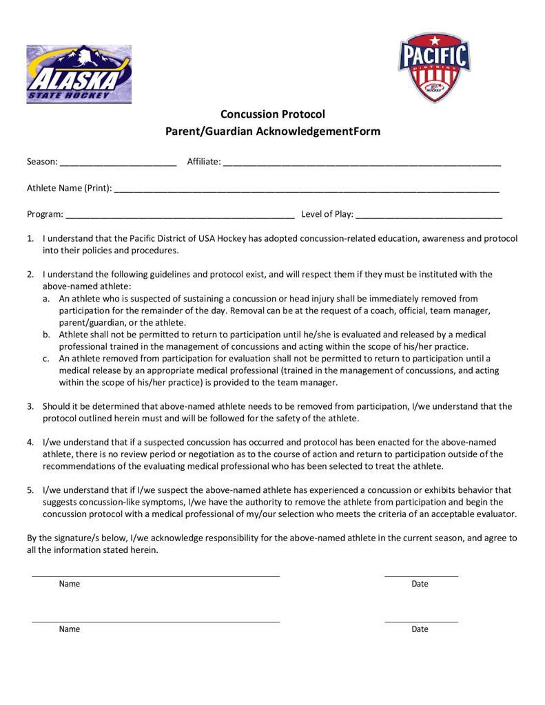 Pacific District - Concussion Protocol - Parent/Guardian Acknowledgement Form