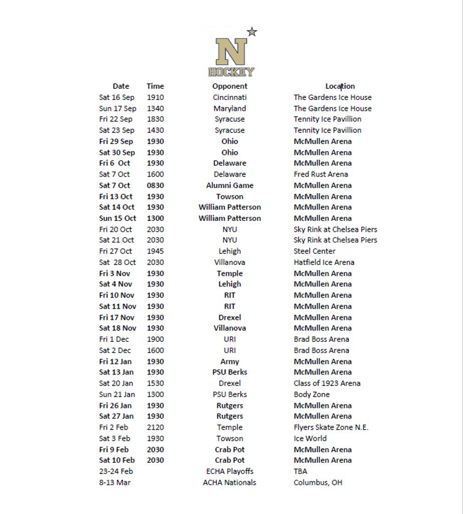 Navy Men's D1 Schedule 2017-18