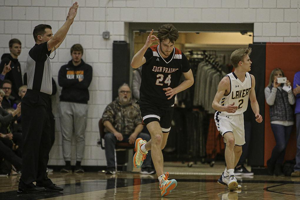 Connor Christensen (24) celebrated a three-point basket in the second half. His three-point shooting (he had 24 points) helped Eden Prairie to a 99-74 victory over Prior Lake. Photo by Mark Hvidsten, SportsEngine