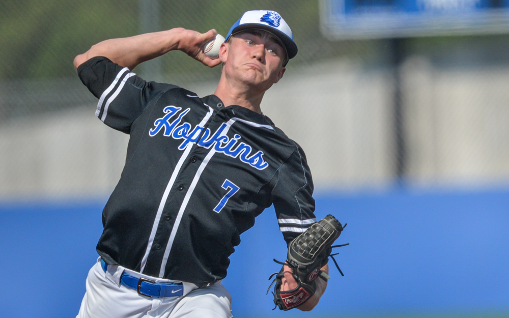 The Royals' Wyatt Nelson pitched six innings in the Class 4A, Section 6 final. He gave up four earned runs, six hits, one walk and he struck out seven helping the Royals beat the Trojans 8-4 on Friday. Photo by Earl J. Ebensteiner, SportsEngine