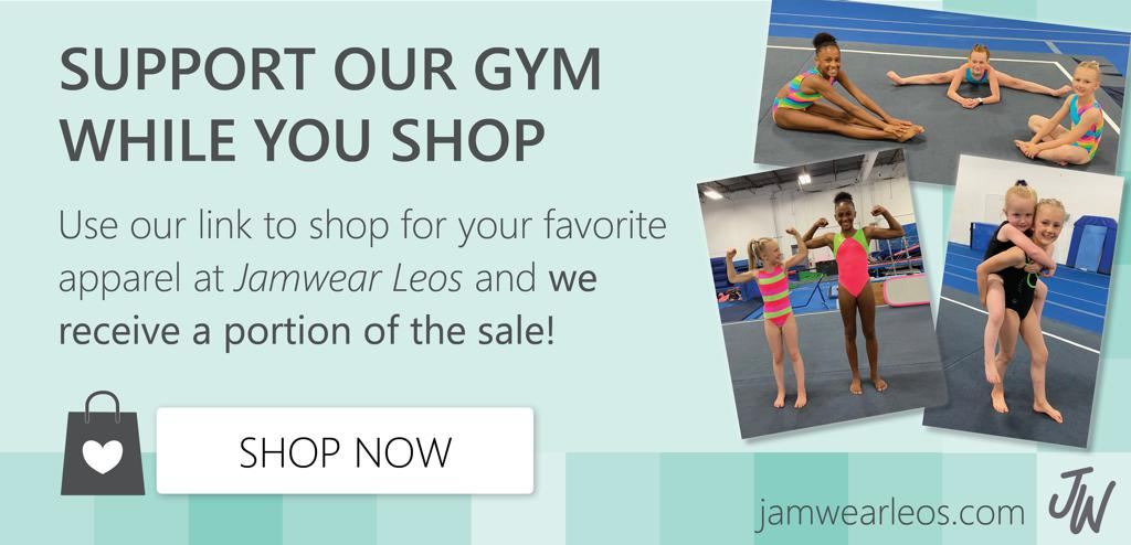 Images of gymnasts posing in Jamwear leos