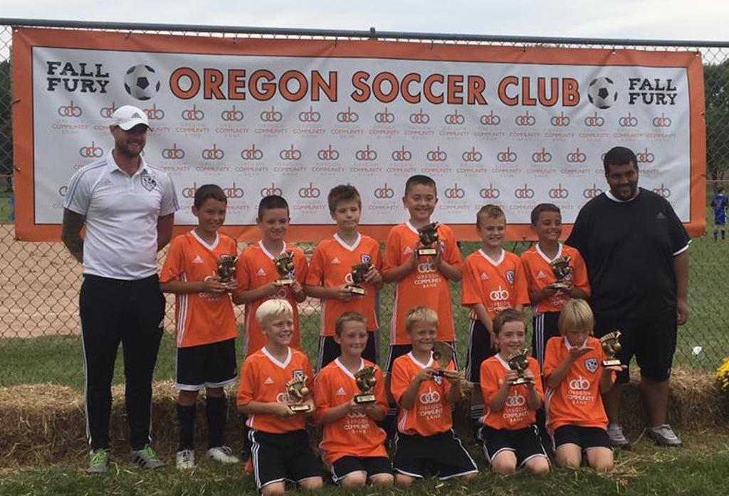 Oregon SC Under-11 Boys Black after winning their division at the Oregon Soccer Fall Fury