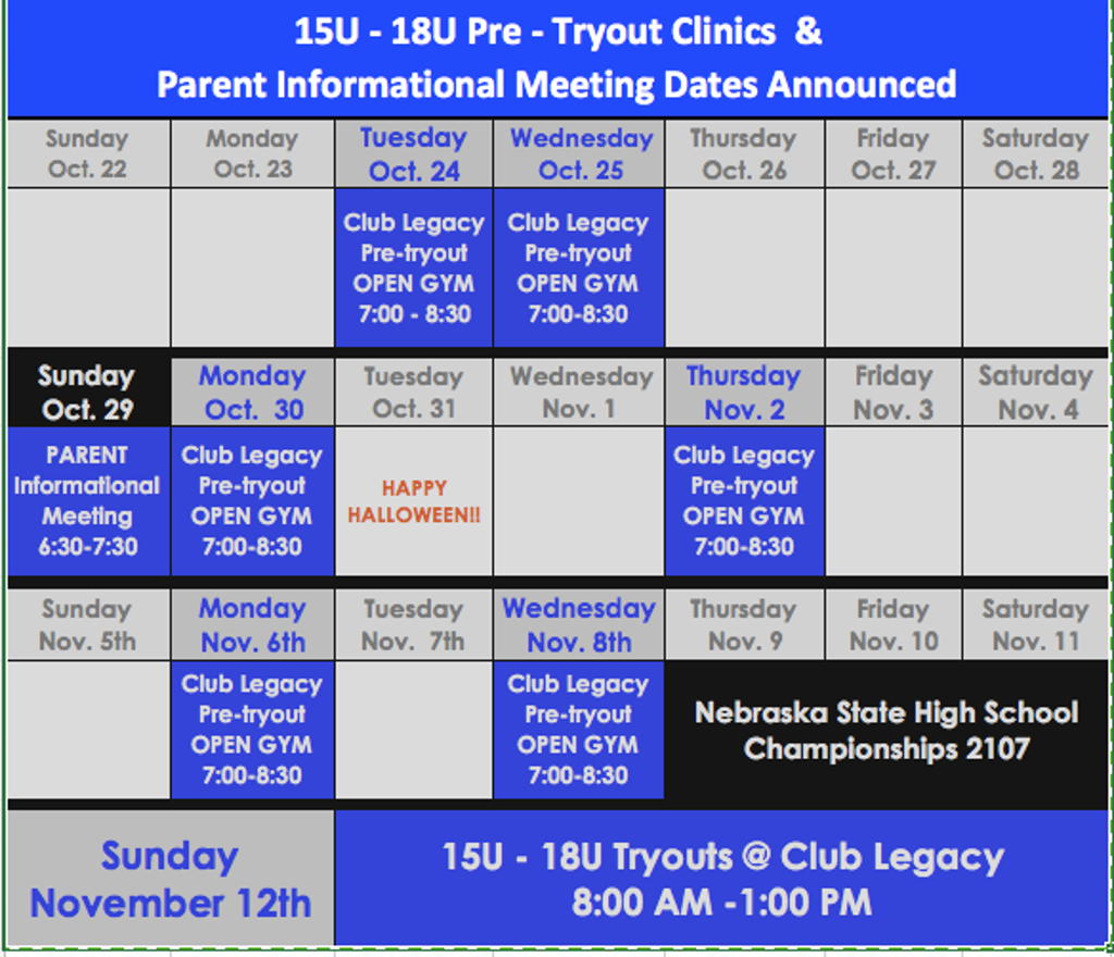 High School Clinics & Tryout Info.