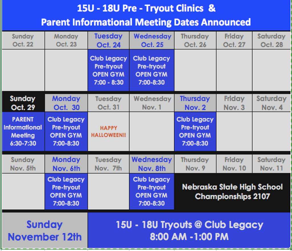 High School Clinics & Tryout Info.
