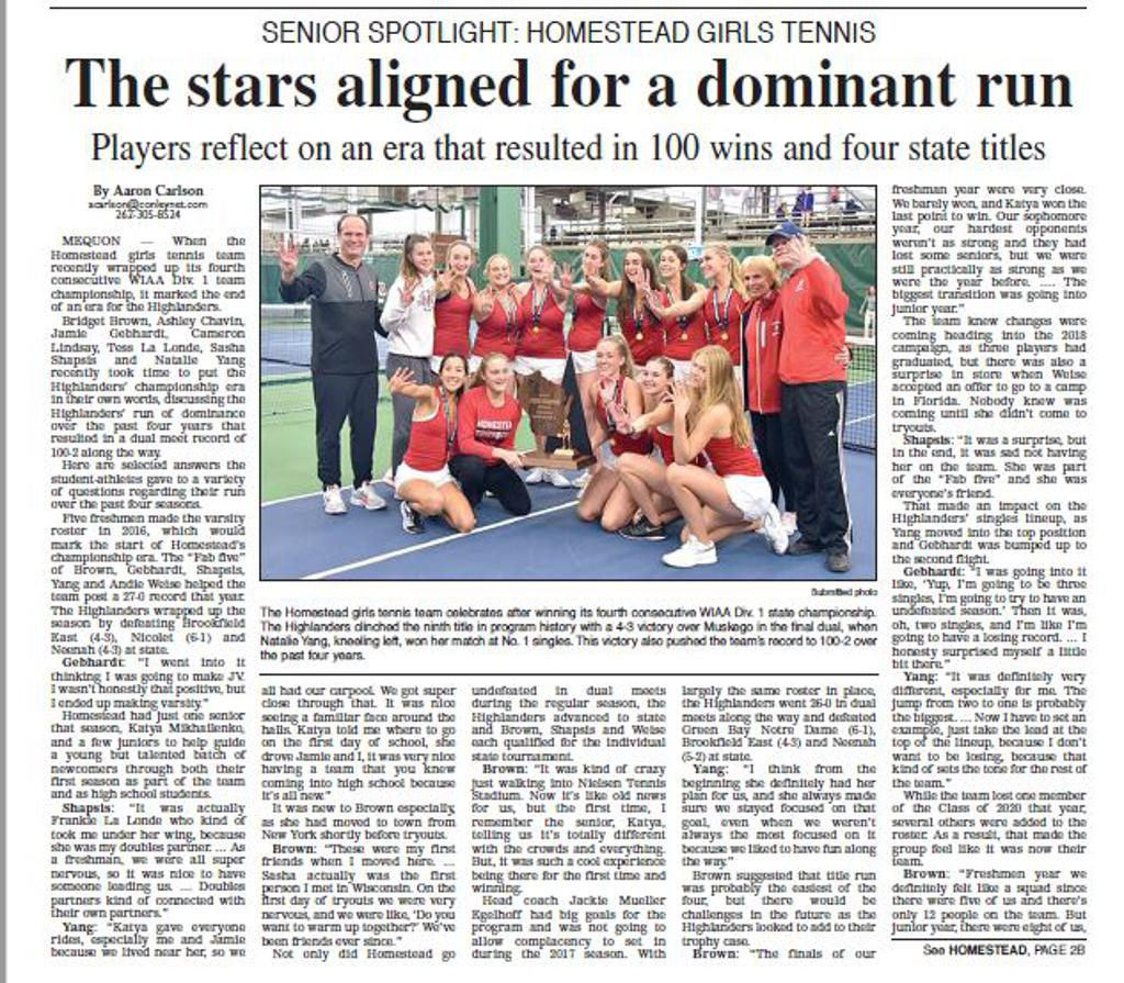 Homestead Tennis article