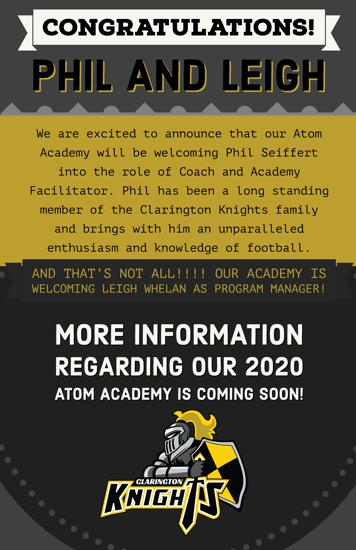 The exciting news just doesn't stop!!!   Congratulations Philippe Seiffert and Leigh Whelan! We are grateful for your continued support of community sports and Clarington Football!!!