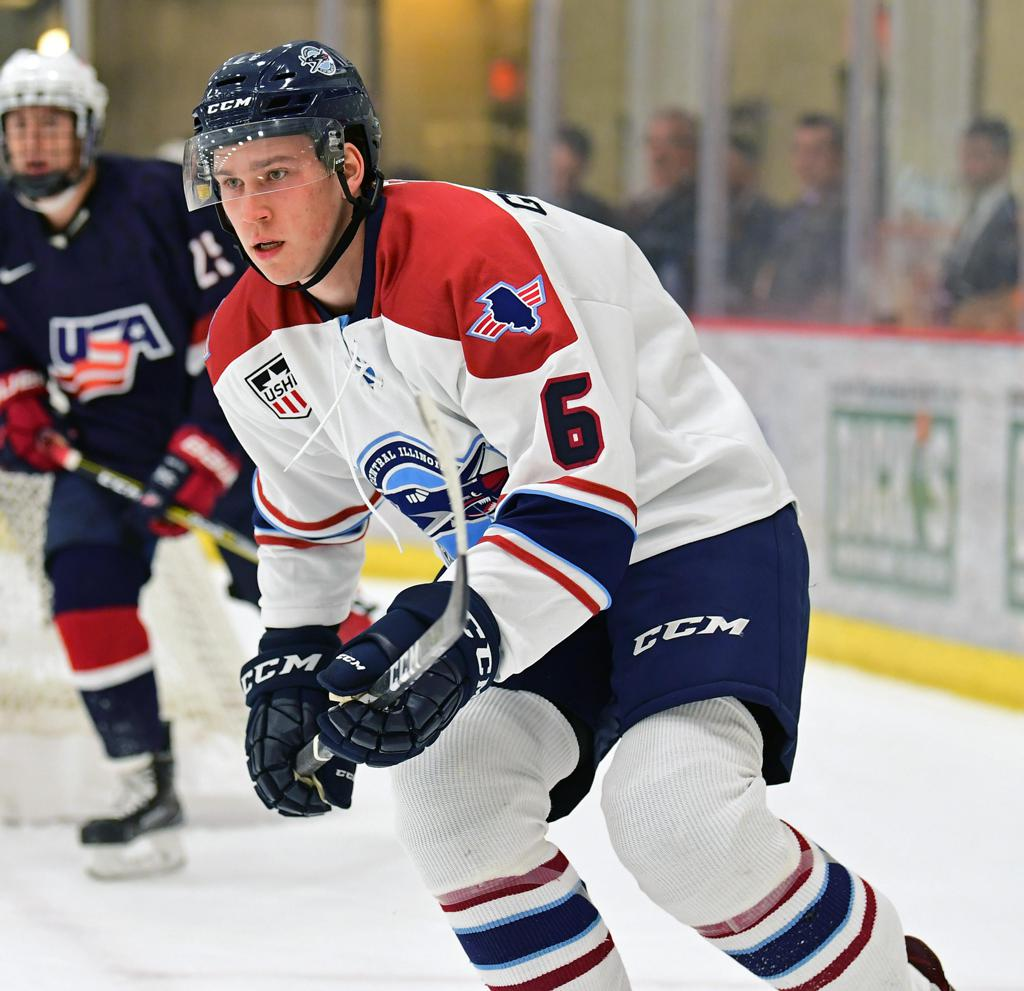 Flying Aces forward Matt Gosiewski looks up ice in a game in early October