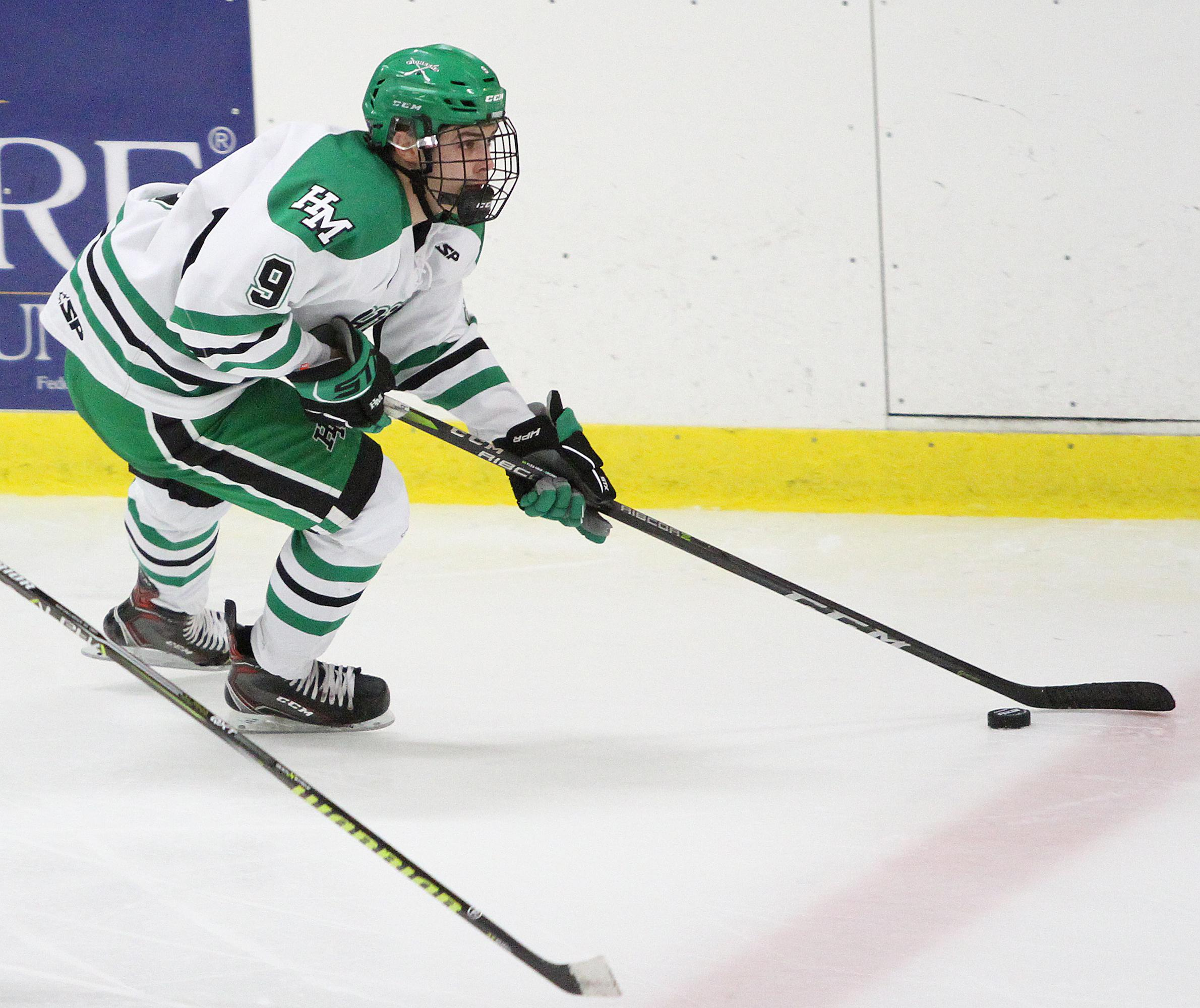 Hill-Murray junior captain Ben Helgeson finished with two assists in the Pioneers' 4-2 loss to White Bear Lake Saturday night. Photo by Drew Herron, SportsEngine
