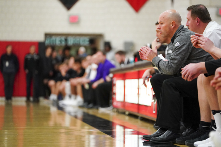 Eden Prairie coach Dave Flom cheers on his team as the clock slowly runs out in their 74-62 win over Chaska. Photo by Travis Ellison, SportsEngine