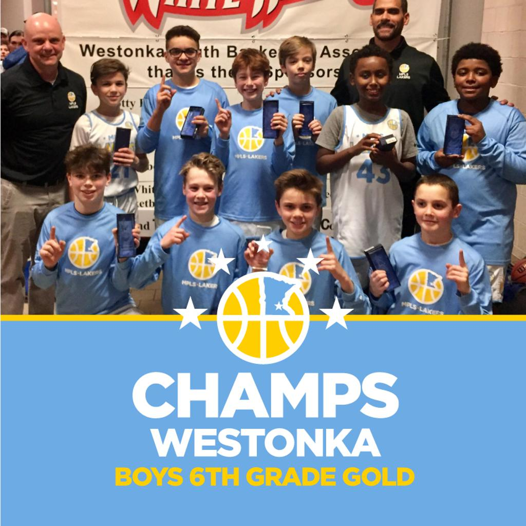 Boys 6th Grade Gold pose with their hardware after taking 1st at Westonka White Hawk Classic