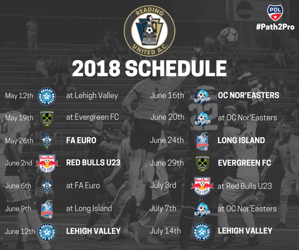 Reading United's 2018 Schedule Revealed