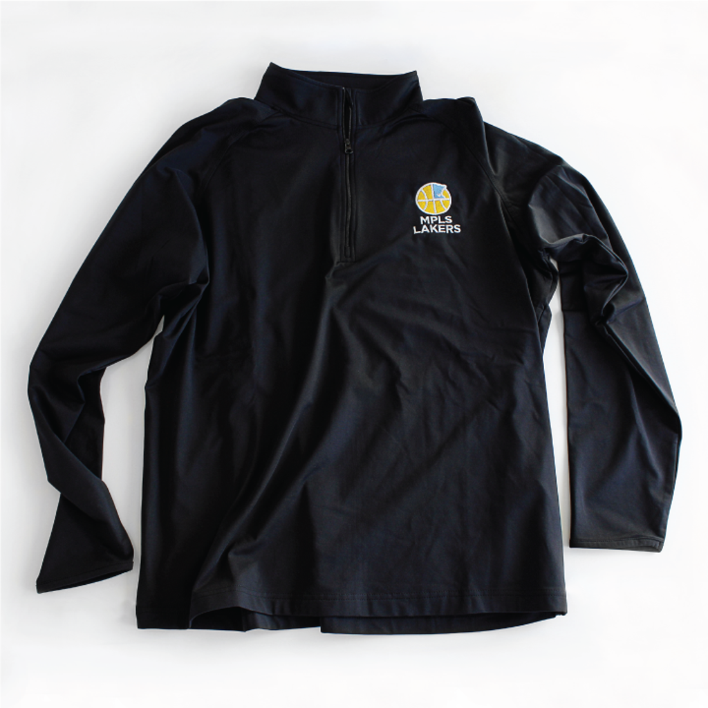 Long-Sleeve Quarter Zip Pullover Shirt with Embroidered Mpls Lakers Logo, Black Color